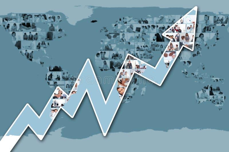 Imagen compuesta de la flecha roja que destaca stock de ilustración