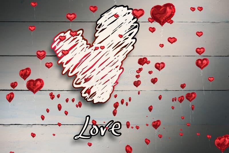 Imagen compuesta de la flotación roja de los globos del corazón ilustración del vector
