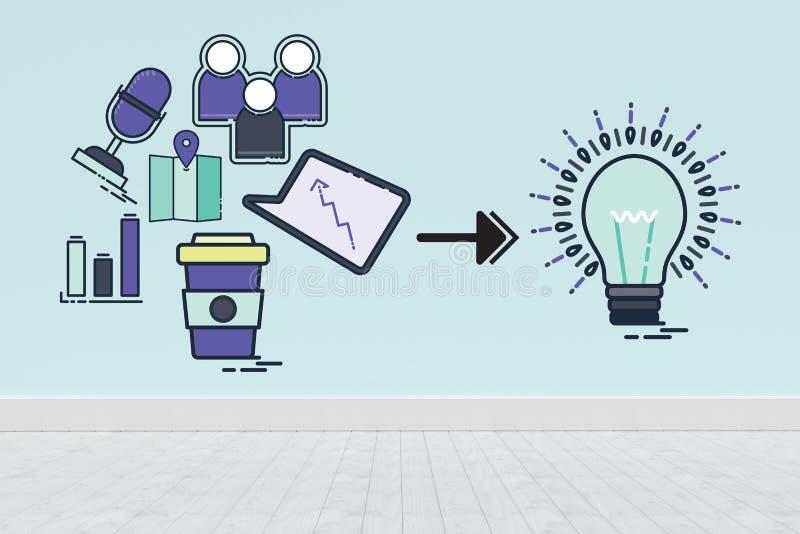 Imagen compuesta de la imagen compuesta de los iconos del ordenador que señalan hacia bombilla ilustración del vector