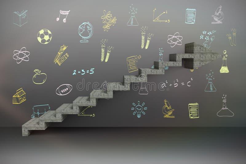 Imagen compuesta de la imagen compuesta de los pasos que se levantan foto de archivo