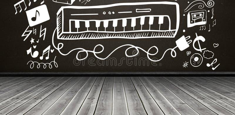 Imagen compuesta de la imagen compuesta del piano con símbolos musicales libre illustration
