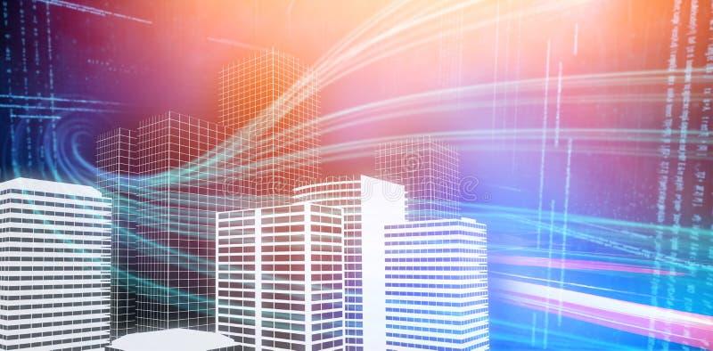 Imagen compuesta de la imagen compuesta digital de los edificios 3d stock de ilustración