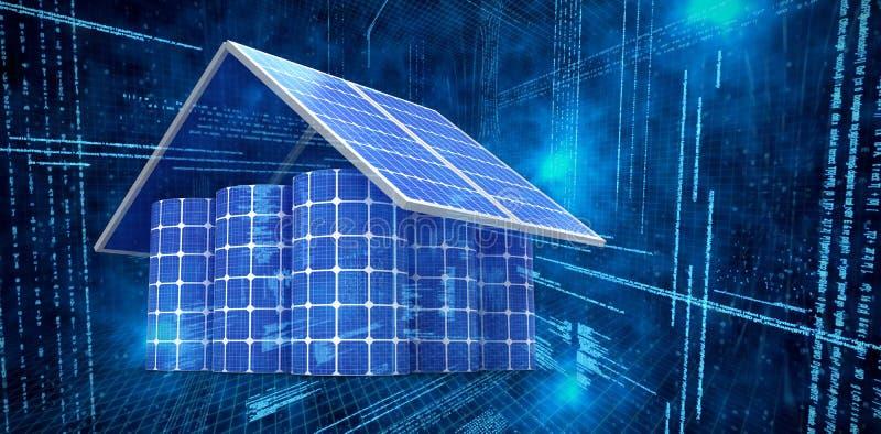 Imagen compuesta de la imagen 3d de la casa hecha de los paneles solares y de las células stock de ilustración