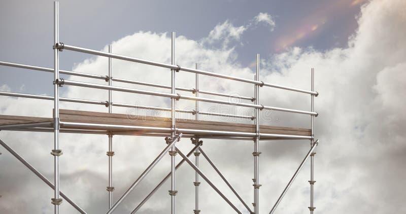 Imagen compuesta de la imagen 3d de la estructura gris del metal con la sombra stock de ilustración
