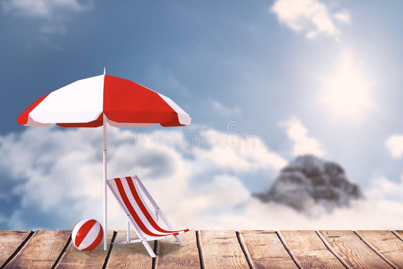 Imagen compuesta de la imagen del ocioso y de la sombrilla del sol libre illustration