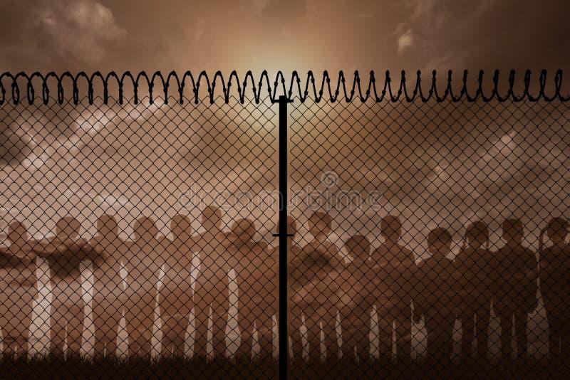 Imagen compuesta de la imagen digital generada de la cerca con alambre de púas espiral stock de ilustración