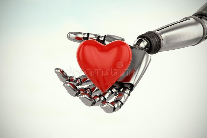 Imagen compuesta de la imagen tridimensional del cyborg que sostiene la decoración oída roja 3d de la forma ilustración del vector
