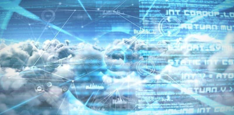Imagen compuesta de la imagen compuesta de las líneas de conexión del interfaz sobre las nubes stock de ilustración