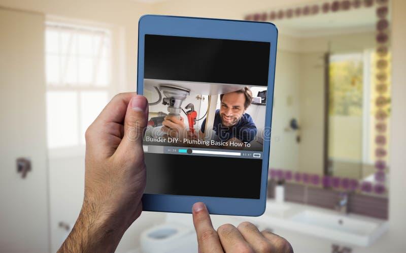 Imagen compuesta de la muestra delantera rápida en la pantalla en blanco digital generada fotos de archivo