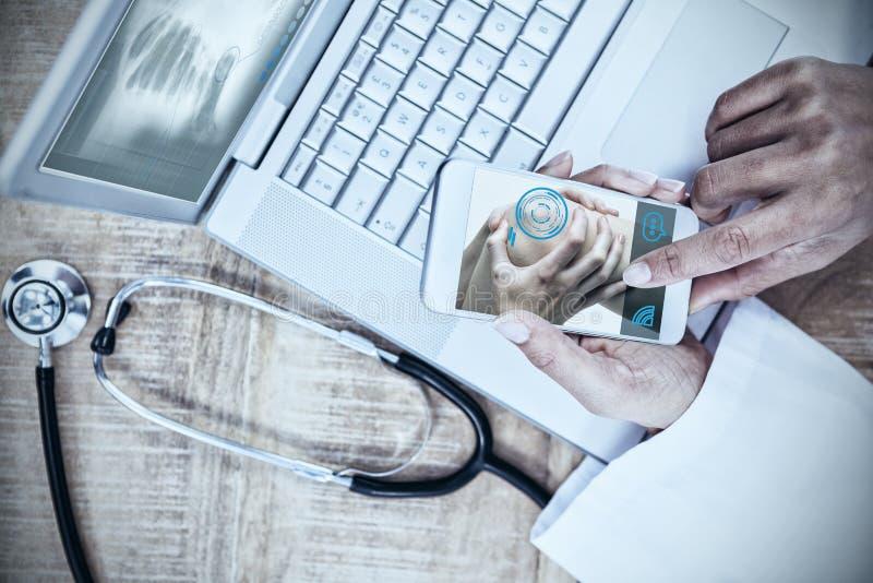 Imagen compuesta de la mujer con la lesión de rodilla stock de ilustración