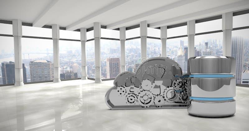 Imagen compuesta de la nube mecánica con símbolo del disco duro stock de ilustración
