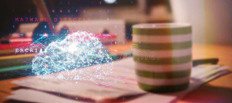 Imagen compuesta de la nube y del malware detectados en fondo binario foto de archivo
