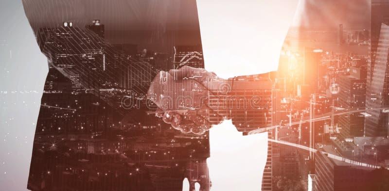 Imagen compuesta de la opinión de alto ángulo del paisaje urbano iluminado fotografía de archivo