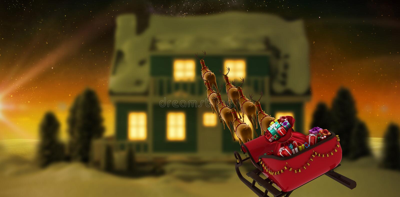 Imagen compuesta de la opinión de alto ángulo el reno que tira del trineo rojo con la caja de regalo durante la Navidad ilustración del vector