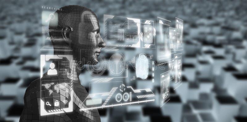Imagen compuesta de la opinión del perfil el hombre digital del negro 3d libre illustration