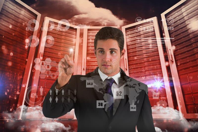 Imagen compuesta de la situación y de señalar del hombre de negocios imágenes de archivo libres de regalías