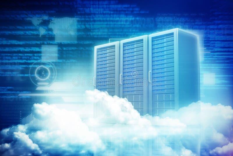 Imagen compuesta de la vista escénica de las nubes mullidas blancas 3D stock de ilustración