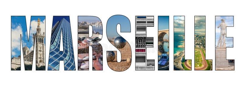 Imagen compuesta de las letras de título de la ciudad de Marsella stock de ilustración