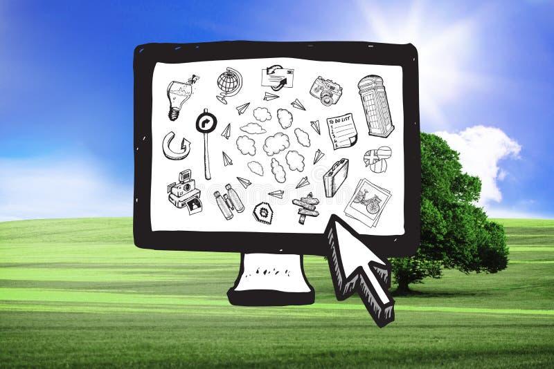 Imagen compuesta de los garabatos computacionales de la nube en la pantalla de ordenador imagen de archivo