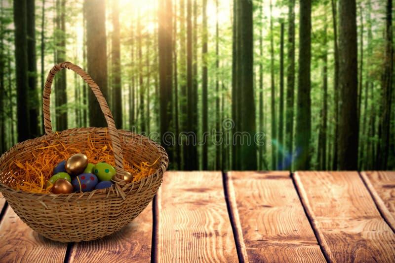Imagen compuesta de los huevos de Pascua en la cesta de papel de la jerarquía ilustración del vector