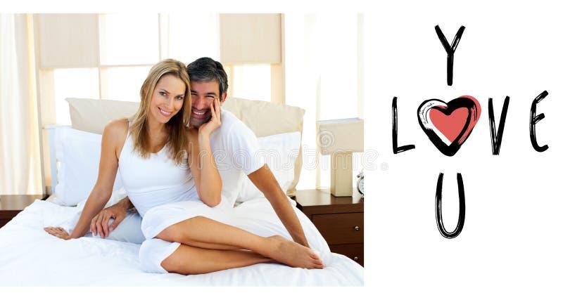 Imagen compuesta de los pares lindos de las tarjetas del día de San Valentín stock de ilustración