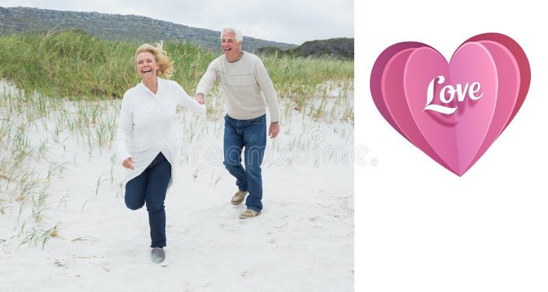Imagen compuesta de los pares mayores alegres que corren en la playa ilustración del vector