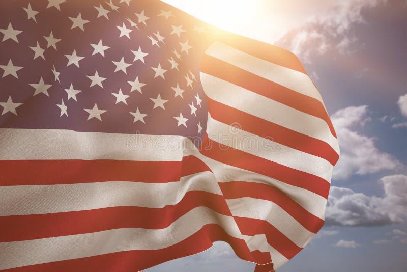 Imagen compuesta de nosotros bandera foto de archivo
