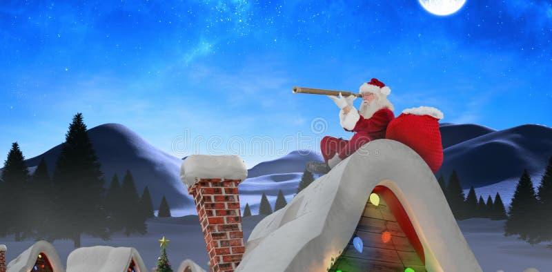 Imagen compuesta de Papá Noel que mira a través del telescopio imagen de archivo libre de regalías