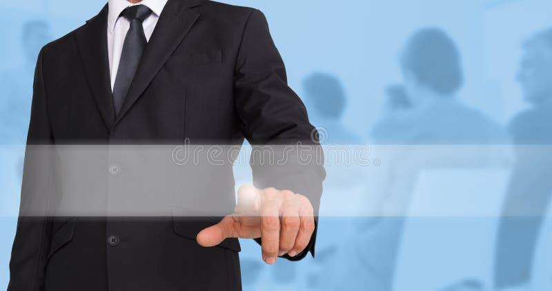 Imagen compuesta de señalar del hombre de negocios foto de archivo