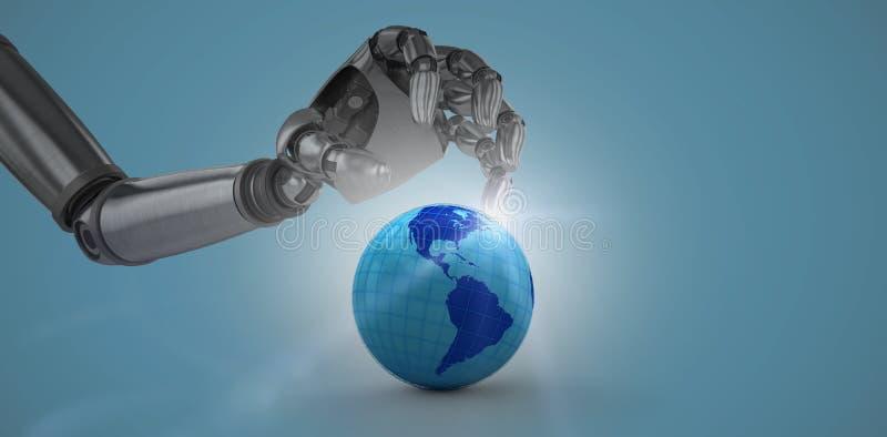 Imagen compuesta de tridimensional de la mano robótica del cromo con el cartel ilustración del vector
