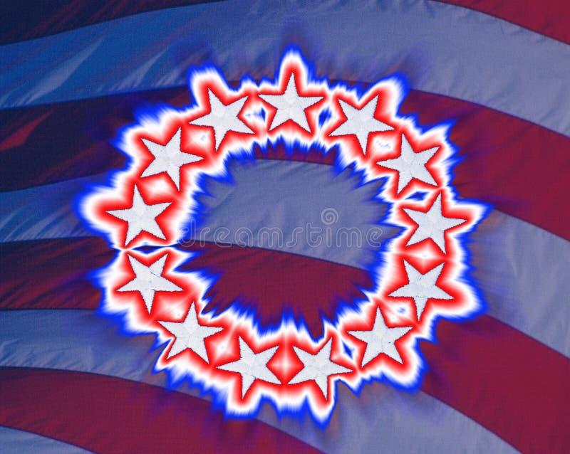 Imagen compuesta de una bandera americana colonial original que brilla intensamente con 13 estrellas stock de ilustración
