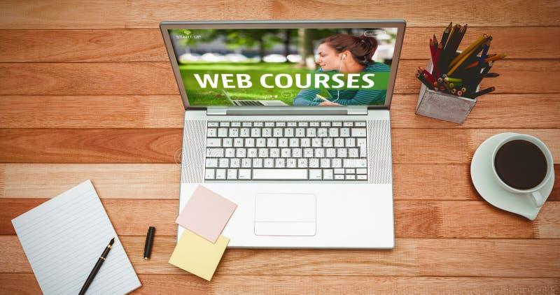 Imagen compuesta del anuncio del curso del web imagen de archivo