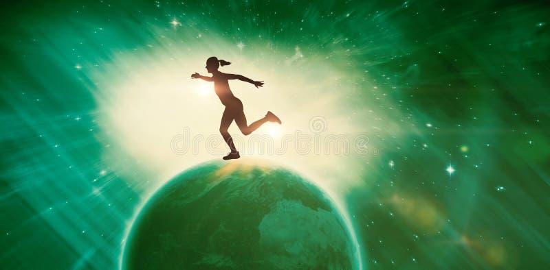 Imagen compuesta del atleta de sexo femenino que corre en el fondo blanco ilustración del vector