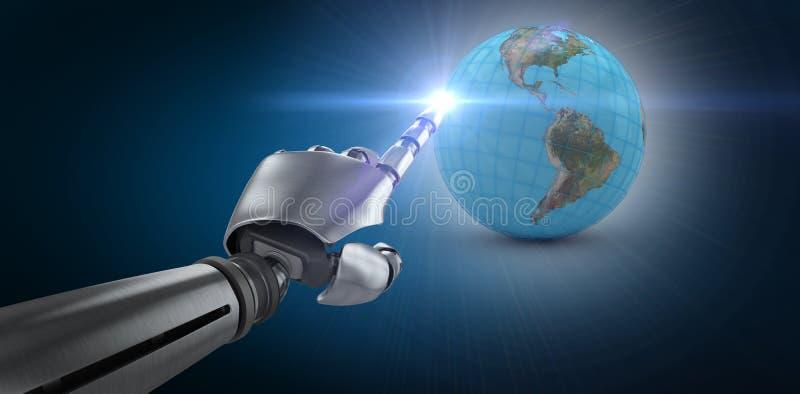 Imagen compuesta del brazo robótico sobre el fondo blanco stock de ilustración