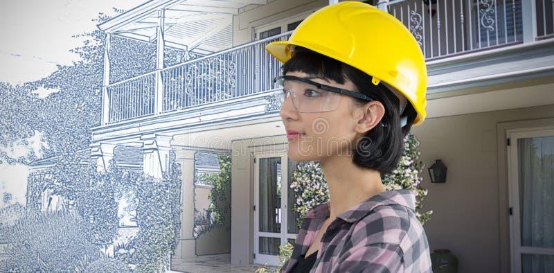Imagen compuesta del casco del arquitecto de sexo femenino y de las gafas de seguridad que llevan contra el fondo blanco imagen de archivo