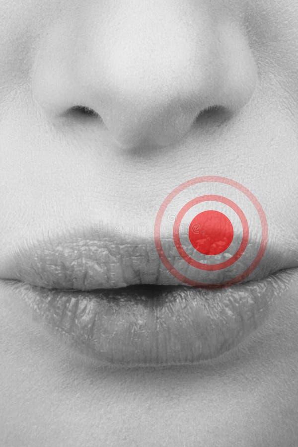 Imagen compuesta del cierre para arriba de besarse femenino de la boca fotografía de archivo