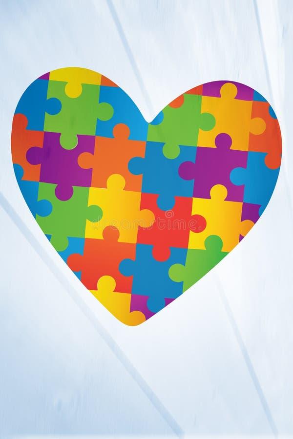 Imagen compuesta del corazón de la conciencia del autismo libre illustration