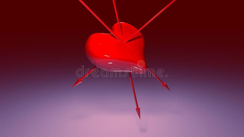 Imagen compuesta del corazón y de las flechas rojos del amor libre illustration