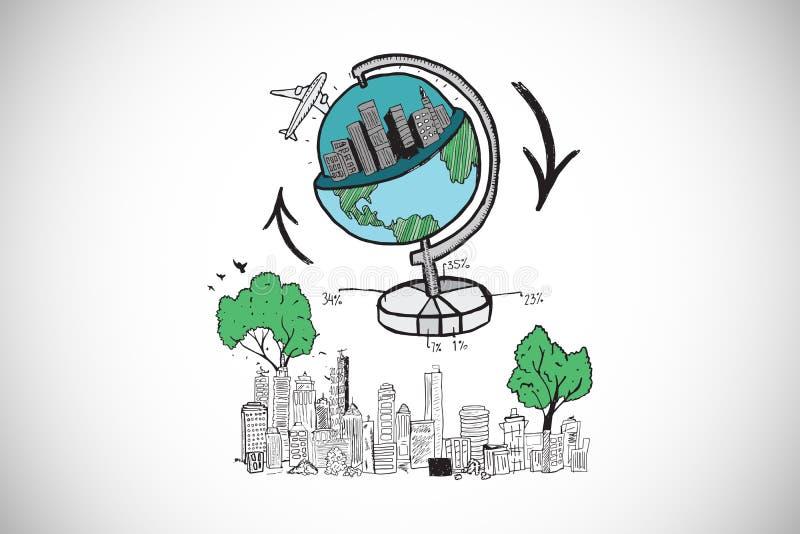 Imagen compuesta del garabato global del viaje sobre paisaje urbano libre illustration