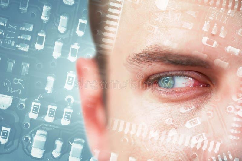 Imagen compuesta del hombre con los ojos azules que miran lejos imágenes de archivo libres de regalías