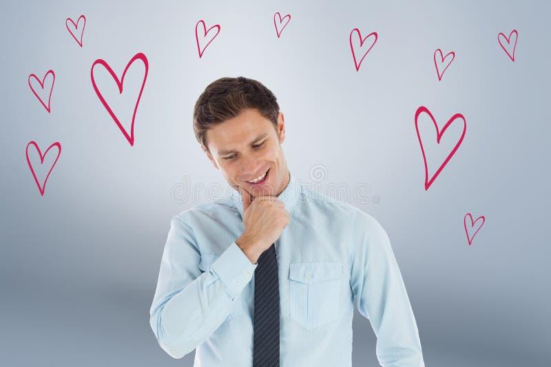 Imagen compuesta del hombre de negocios pensativo con la mano en la barbilla imagen de archivo libre de regalías