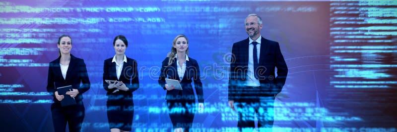 Imagen compuesta del hombre de negocios que camina con los colegas contra el fondo blanco fotografía de archivo libre de regalías