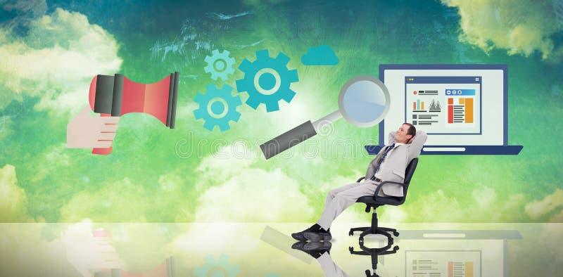 Imagen compuesta del hombre de negocios que se relaja en silla de eslabón giratorio libre illustration