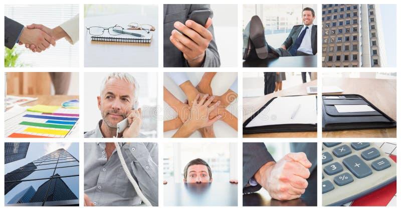 Imagen compuesta del hombre de negocios relajado con sus pies para arriba fotografía de archivo libre de regalías