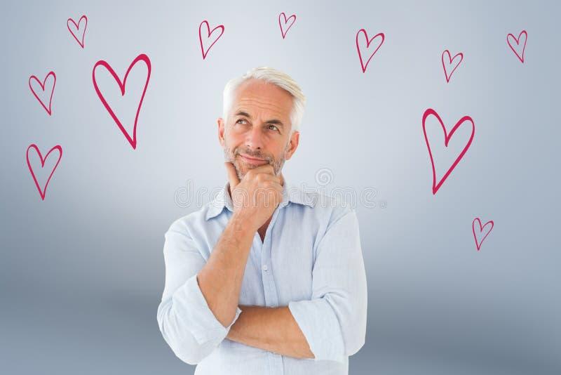 Imagen compuesta del hombre pensativo que presenta con la mano en la barbilla fotografía de archivo