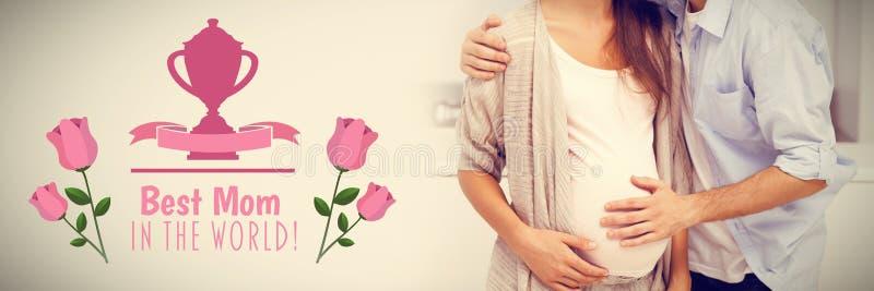 Imagen compuesta del hombre que besa a su esposa embarazada imágenes de archivo libres de regalías