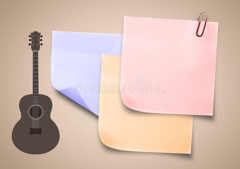 Imagen compuesta del icono pegajoso de la guitarra de la música de la nota ilustración del vector
