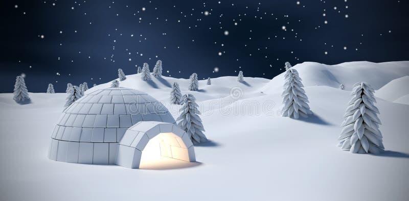 Imagen compuesta del iglú y de árboles iluminados en campo de nieve libre illustration