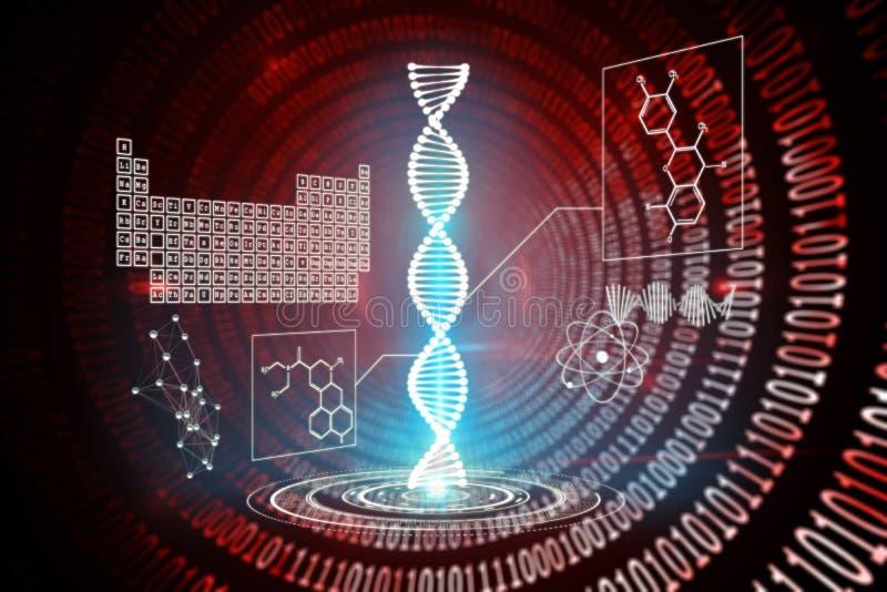 Imagen compuesta del interfaz de la hélice de la DNA ilustración del vector