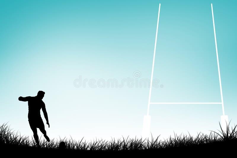 Imagen compuesta del jugador del rugbi que golpea la bola con el pie stock de ilustración